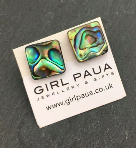 Paua Stud Earrings PE04 Square Natural Large